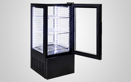 Four Sided Glass Cooler For Beverage Countertop Display
