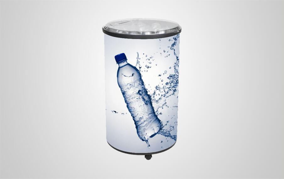 Round Beverage Cooler With One Piece Full Plastic Door