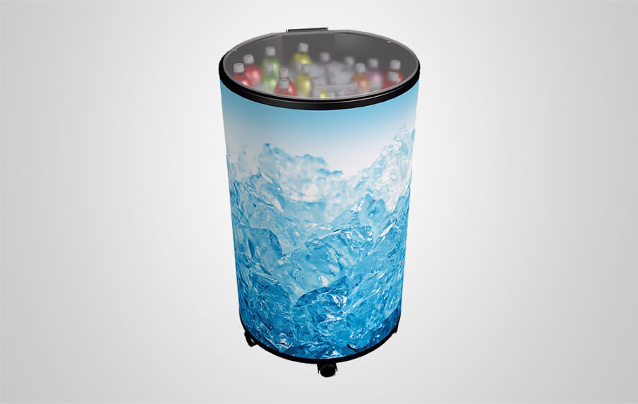Round Beverage Cooler With One Piece Full Plastic Lid